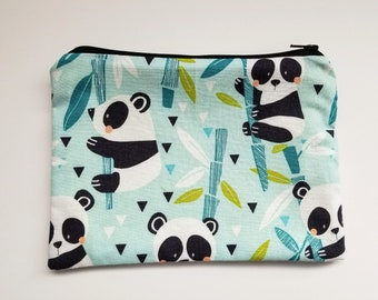CHOOSE SIZE pencil case pouch, adorable baby pandas in aqua and green