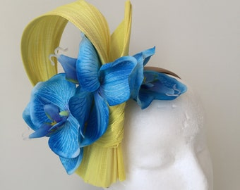 NEW yellow fascinator with blue orchid flowers on a headband! One only!