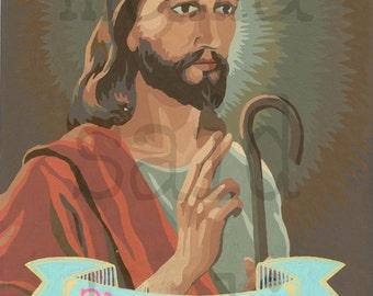 8x10 Print of  Vintage Paint By Number PBN 2 Legit 2 Quit Jesus
