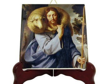 Christian Catholic art - Jesus Good Shepherd - religious icon on ceramic tile - christian gifts - catholic handmade - catholic crafts