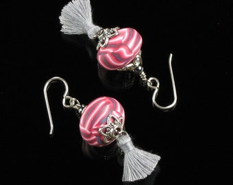 Boho Tassel Earrings, Unique Boho Festival Earrings, Tassel Statement Earrings, Unique Gift, Women, Mom Gift, Tassel Jewelry, Pink Earrings