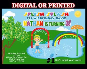 Water Park Splash Pad Invitation Boys - YOU Print Digital File or PRINTED, Summer Birthday Party