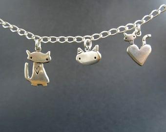 Sterling Silver Cats Charm Bracelet - Cat Fancy Three Charm Bracelet