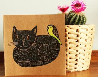 Black Cat and Budgie, Original Hand Printed Card, Linocut Card, Blank Greeting Card, Brown Kraft Card, Free Postage in UK,