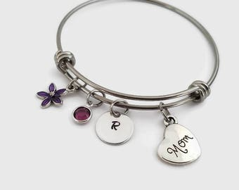 Mom bracelet - Mother's day jewelry - Gift for mom - Personalized bangle bracelet - gift for mother's day - Purple flower bracelet for mom