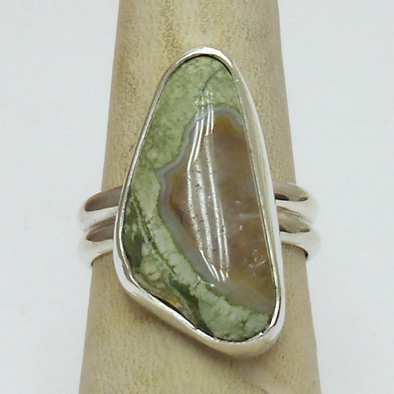 Rainforest Jasper Ring Set in Sterling Silver, Size 7  r7rfjf2967