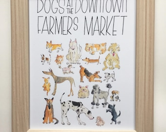 Dogs at the Downtown Farmer's Market Print