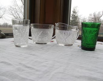 Vintage Mixed Lot of Clear and Green Sandwich Glass Juice Tumblers, Creamer and Sugar Bowl