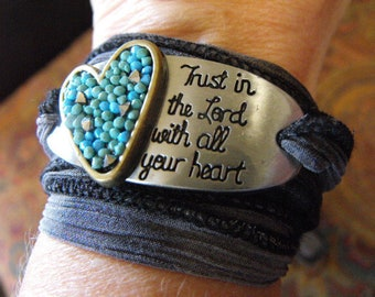 Scripturally Speaking...Trust in the Lord...Gray Cloth Ribbon Wrap Bracelet