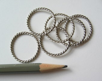 50 Twist ring with antique silver tone plating 25mm