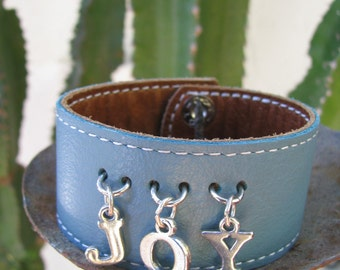 """SALE!!!! Light Blue Leather Cuff With Sterling Silver """"JOY"""" Message"""