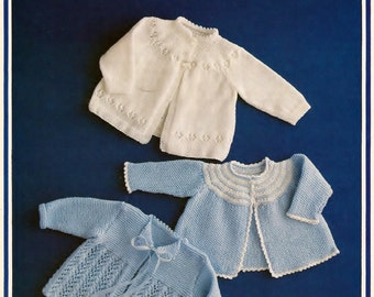 Baby 4 ply Matinee Jackets 3 styles   18-20 ins -  Keynote 19  - pdf of  of a Vintage Knitting Pattern