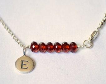Garnet Bracelet, January Birthstone Jewelry, Genuine Dark Red Gemstone, Sterling Silver, Initial Jewelry, Tween Girls, Children