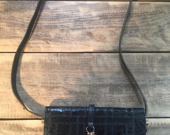 Black leather patchwork bag