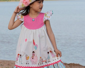 Girls Dress Pattern with Flutter Sleeve - How to Sew the Butterfly Dress PDF Sewing pattern