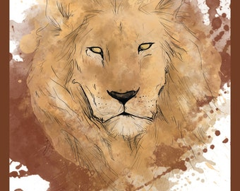 Charity sale - Watercolour Lion - stylish Print / Poster