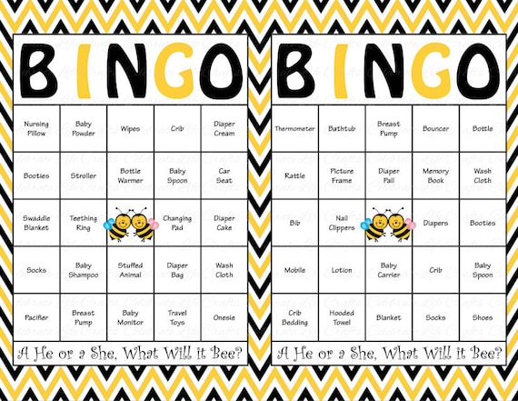 30 baby shower bingo cards printable gender reveal party 30 baby shower bingo cards printable gender reveal party boy or girl what will it bee theme yellow black gr001 solutioingenieria Choice Image