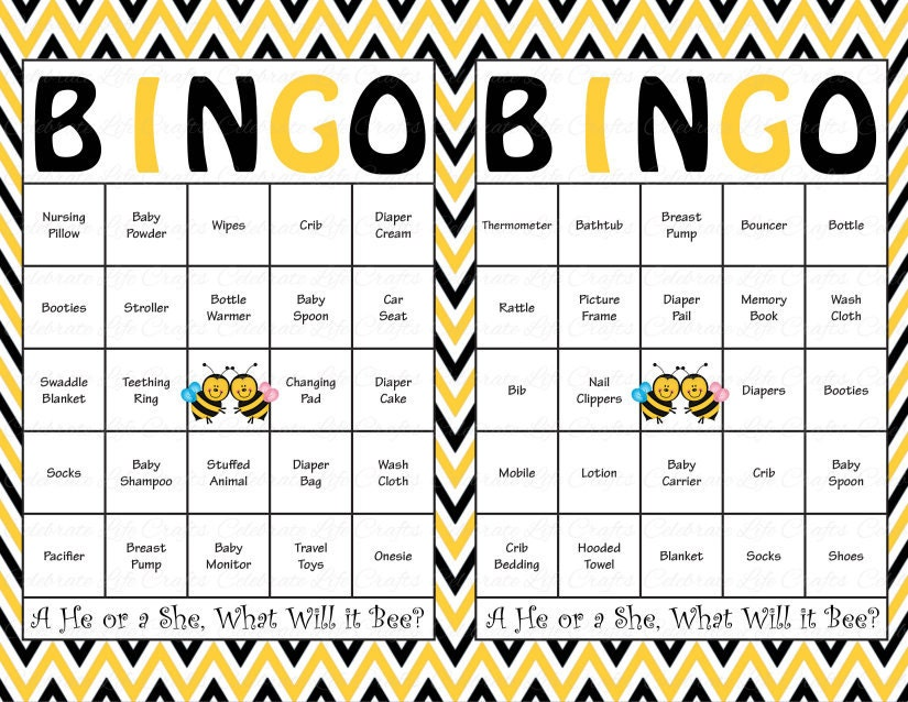 100 Baby Shower Bingo Cards Printable Gender Reveal Party