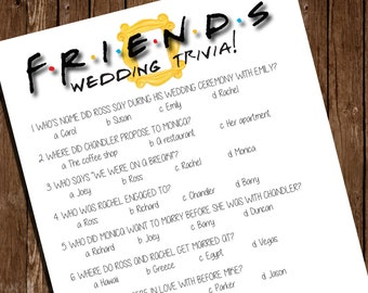 "Printable FRIENDS Bridal Shower Game/ Wedding Trivia/ 8.5""x11"""
