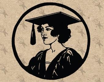 Vintage image Graduate girl Instant Download Digital printable clipart graphic -  iron on, transfer, burlap, mail art, t-shirt   HQ 300dpi