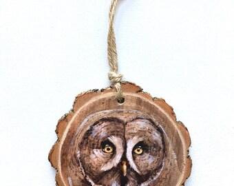Great Grey Owl Wood Tree Slice Wall Art