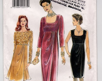 FF Vogue 9365 Misses Raised Waist Evening Dress, Formal Wedding or Special Occasion 1990s Sew Pattern, Size 6 8 10 Bust 30 1/2- 32 1/2 UNCUT