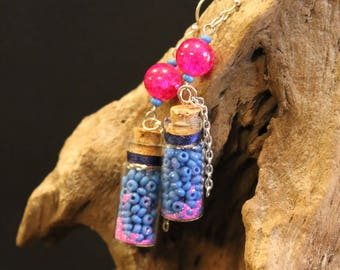 Silver large vials and chains earrings