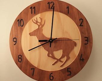 Pine Deer clock Wood clock Wall clock Nature clock Wooden wall clock Hunting decor Hunting gift Home clock Deer decor Wildlife clock