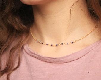 Dainty Beaded Necklace / Blue Gemstone Necklace, Minimalist Necklace, Dainty Layering Necklace / Rosary Necklace