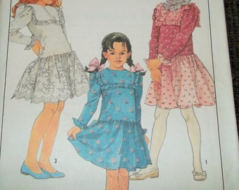 CLEARANCE!  Vintage 1988 Simplicity 8819 Sewing Pattern Girls Dress Size 12