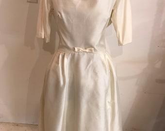 Retro vintage ivory wedding prom dress 50s 60s handmadebelow the knee