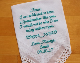 Grandma Handkerchief gift from the Bride-Weddings-EMBROIDERED-CUSTOMIZED-Wedding Hankies-Grandmother Gift-Grandma Hankerchief-LS0F23