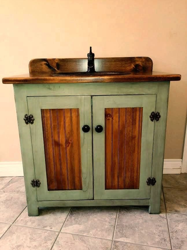 Country Pine Bathroom Vanity With Hammered Copper Sink Inch Wide - 36 inch rustic bathroom vanity
