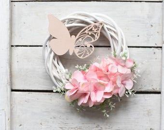 Hydrangea Front Door Wreath, Hydrangea Grapevine Wreath, Romantic Wreath, Wreath With Butterfly, Pink Hydrangea