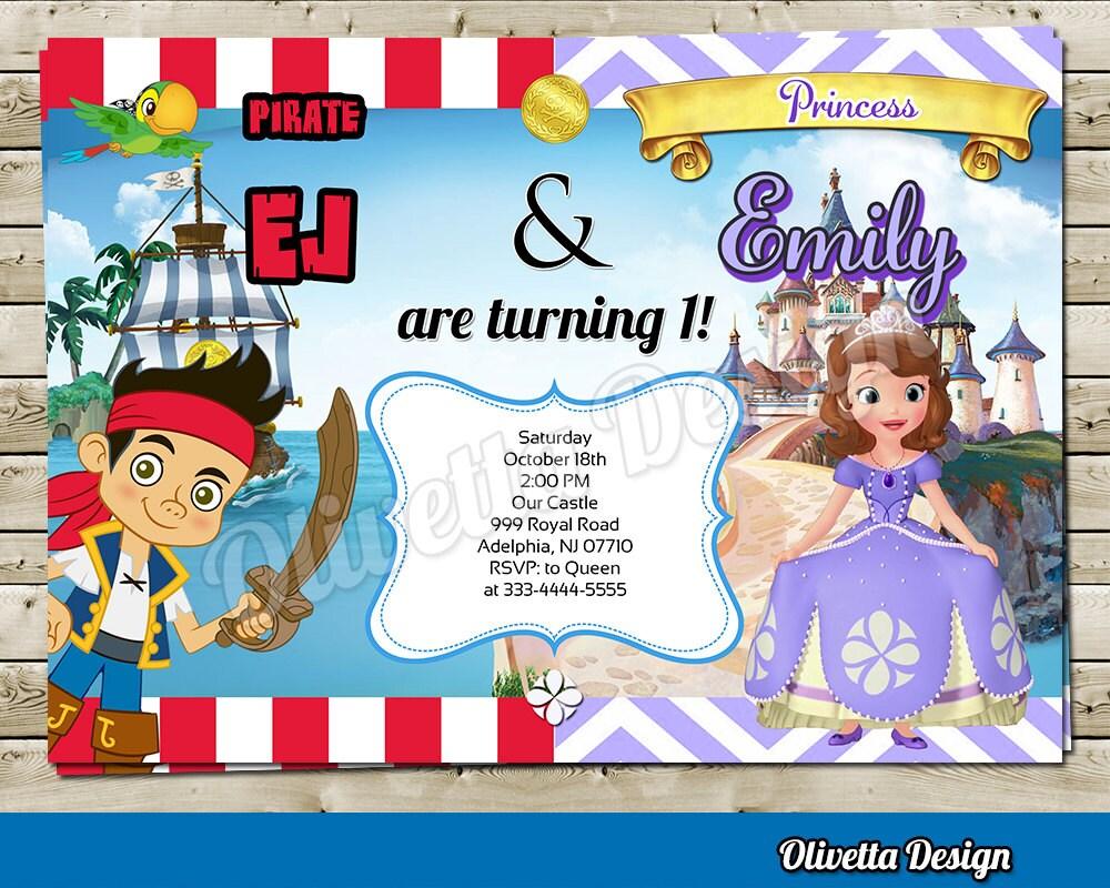 Princesita Sofia y Jake Pirata Invitacion para cumpleaños