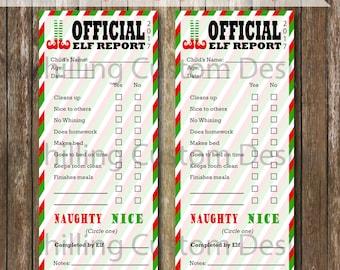 PRINTABLE Elf Report Card - INSTANT Download