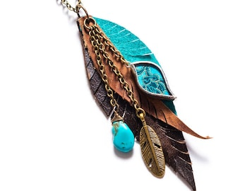Leather Feather Turquoise Charm Boho Cluster  Necklace by Shi Studio