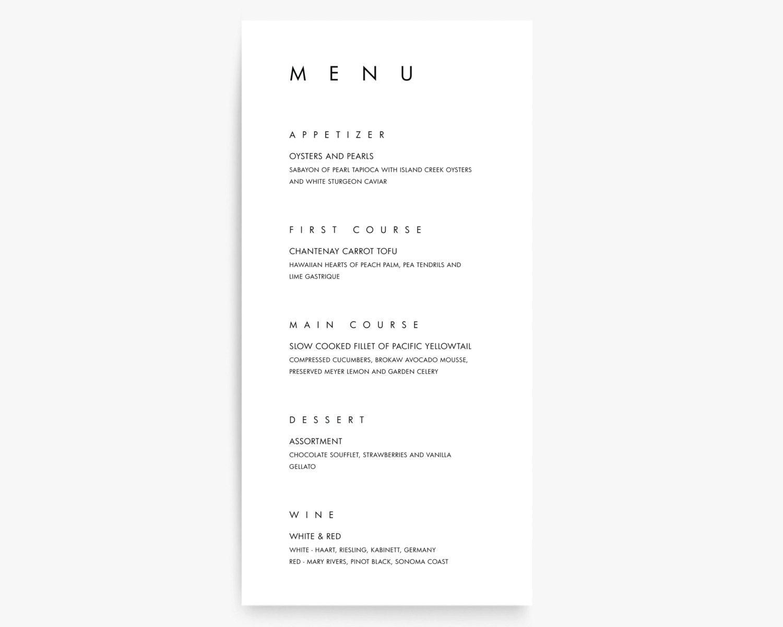 Atemberaubend Hochzeit Menü Vorlage Wort Ideen - Entry Level Resume ...