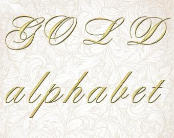 Digital Gold Alphabet, Digital Lettering, Printable Lettering, Digital Download, #11