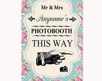Vintage Shabby Chic Rose Photobooth This Way Right Personalised Wedding Sign
