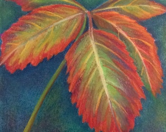 """Pastel drawing leaves floral garden art 12""""x12"""""""