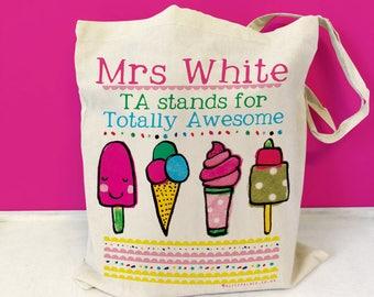 Teacher gift, teacher thank you tote, thank you teacher gift, Personalised Teaching Assistant Bag, School TA gift, end of term, kindergarton