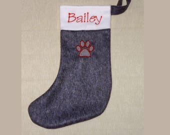 Handmade Personalised Embroidered Grey Christmas Pet Stocking