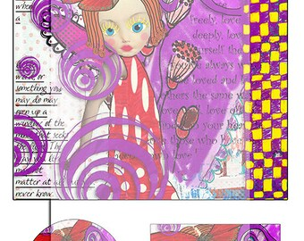 mixed media whimsical collage sheet No 1..... A4 DiGiTaL CoLLaGe JoUrNaL ImAgEs