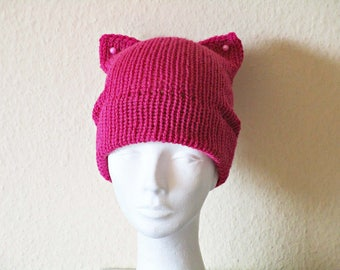 Girlfriend gift idea Pink pussy hat Knit pussy hat Crochet cat hat Kitty cat hat Pink kitty beanie Knit cat hat Cat ears hat clothing-gift