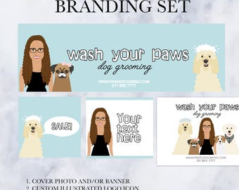 Custom Illustration, cover photo, shop banner, cartoon, illustrated, branding set, logo design, cartoon logo, small business branding