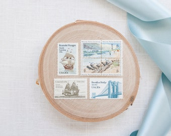 Vintage Postage Stamps UNused - Beach and Ships 2 oz.