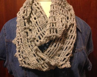 Lightweight, Woven Infinity Scarf in soft Grey Blue