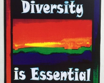 TOLERANCE of DIVERSITY 5x7 Poster Activism Inspirational Freedom Quote Motivational Rainbow College Dorm Heartful Art by Raphaella Vaisseau