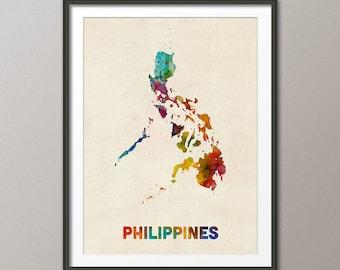 Philippines Watercolor Map, Art Print (1579)